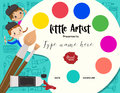 Little artist, kids diploma painting course certificate template Royalty Free Stock Photo