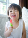 Little asian baby with icecream boy Royalty Free Stock Photos