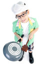 Little asian cute chef with pan on white background Stock Photography
