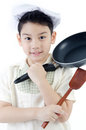 Little asian cute chef thinking action with pan Royalty Free Stock Photography