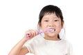 Little asian girl brush teeth Royalty Free Stock Photo