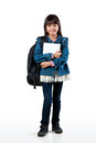 Little asian girl full length of standing and holding books isolated over white Royalty Free Stock Image