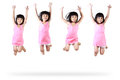 Little asian girl jumping isolated over white Stock Photos