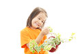 Little asian girl with a plant houseplant isolated on white background Royalty Free Stock Photos