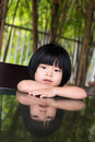 Little asian girl portrait of sitting outdoor Stock Photos