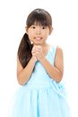 Little asian girl praying Stock Photo