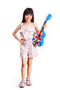 Little asian girl with ukulele over white clipping path Royalty Free Stock Images