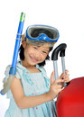 Little asian girl wearing snorkel and mask near a big travel red suitcase with space above for put text in white background Stock Photos
