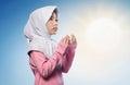 Little asian muslim girl praying to god Royalty Free Stock Photo