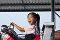 Little asian pretty girl enjoy riding toy car Royalty Free Stock Photos