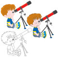 Little astronomer boy looking through a telescope three versions of the illustration Stock Images