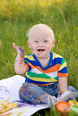 Little baby boy with Down syndrome Royalty Free Stock Image