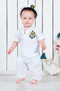 Little baby boy dressed as a sea captain. Royalty Free Stock Photo