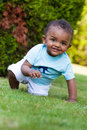 Little baby boy playing in the grass Stock Photo