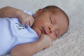 Little baby boy portrait of a sleeping peacefully Stock Image