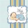 Little baby boy sleep with his teddy bear Royalty Free Stock Photo