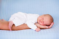 Little baby boy sleeping in arms of his father Royalty Free Stock Photo