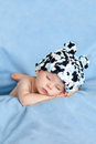 Little baby boy sleeping with hat on a blue background Stock Photography