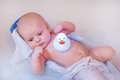 Little baby boy taking bath in bathtub Royalty Free Stock Images