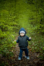 Little baby boy walking on the spring forest pathway Royalty Free Stock Image