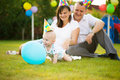 Little baby in cap on his birthday with parent background Royalty Free Stock Photography