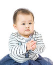 Little baby clapping isolated on white Royalty Free Stock Photography