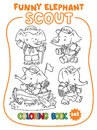 Little baby elephant. Scout. Coloring book set
