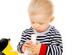 Little baby get wet wipes Royalty Free Stock Photo