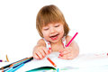Little baby girl draws pencil Royalty Free Stock Image
