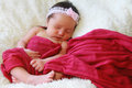 Little baby girl portrait of a sleeping peacefully Stock Photos