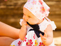 Little baby playing on beach during summertime Royalty Free Stock Photo