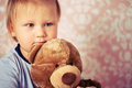 Little baby with teddy bear Stock Photography