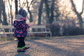 Little baby toddler exploring cold outside world in park Royalty Free Stock Photo