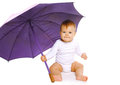 Little baby and umbrella Royalty Free Stock Photo