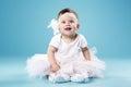 Little Ballerina On Blue Backg...