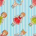 Little Ballerina. Cartoon style. Seamless pattern. Baby Doll. Colorful