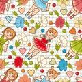 Little Ballerina and Flower. Cartoon style. Seamless pattern. Baby Doll.