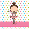 Little ballerina over dotted background vector illustration Royalty Free Stock Photo