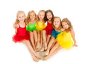 Little ballet dancers group of funny Stock Photo