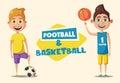 Little basketball and football players. Cartoon vector illustration