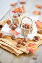 Little baskets filled with hazelnuts Royalty Free Stock Images