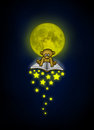Little bear flies on a magical book with a falling stars illuminated by the moonlight