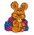 Little Bear and raspberries and blackberries Royalty Free Stock Image