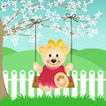 Little Bear on Swing Stock Photos