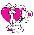 Little Bear Valentine Card Stock Photo