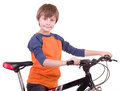 Little beautiful boy with bycicle Stock Images