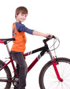 Little beautiful boy with bycicle Stock Photo