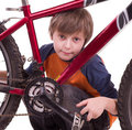 Little beautiful boy with bycicle Royalty Free Stock Photography