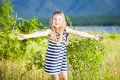 Little beautiful girl blond outdoor Stock Photos