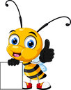 Little bee cartoon thumb up with blank sign illustration of Royalty Free Stock Photography